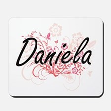 Daniela Artistic Name Design with Flower Mousepad