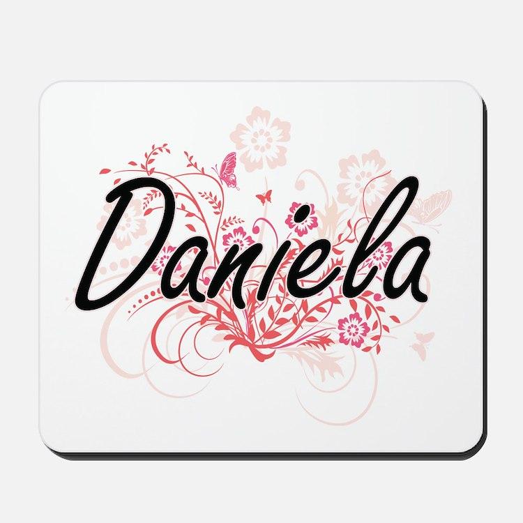 Daniela Artistic Name Design with Flower Mousepad