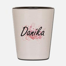 Danika Artistic Name Design with Flower Shot Glass
