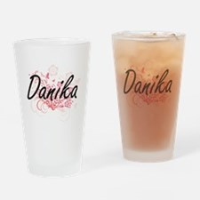 Danika Artistic Name Design with Fl Drinking Glass