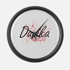 Danika Artistic Name Design with Large Wall Clock
