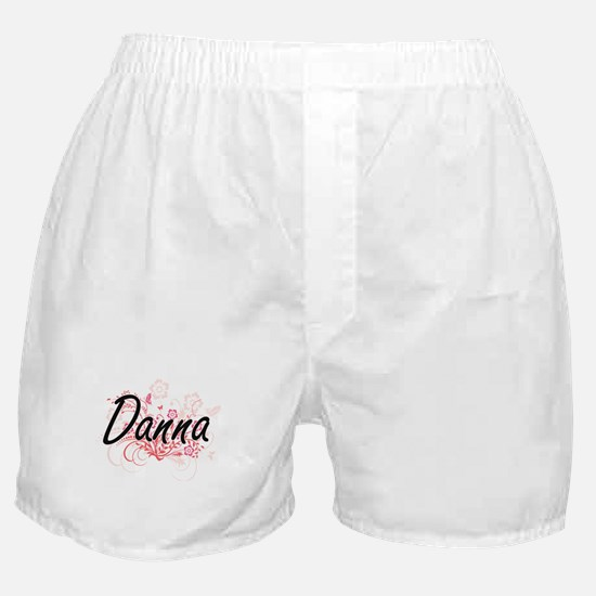 Danna Artistic Name Design with Flowe Boxer Shorts
