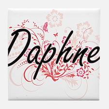Daphne Artistic Name Design with Flow Tile Coaster