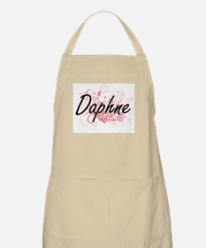 Daphne Artistic Name Design with Flowers Apron