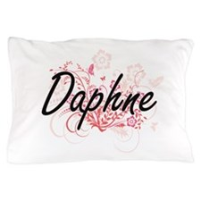 Daphne Artistic Name Design with Flowe Pillow Case
