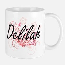 Delilah Artistic Name Design with Flowers Mugs