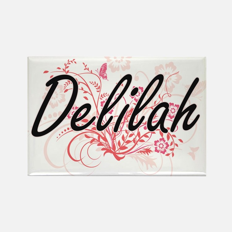 Delilah Artistic Name Design with Flowers Magnets