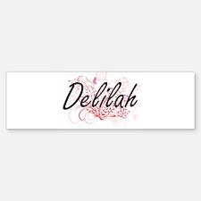 Delilah Artistic Name Design with F Bumper Bumper Bumper Sticker