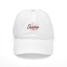 Desirae Artistic Name Design with Flowers Baseball Cap