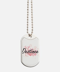 Destinee Artistic Name Design with Flower Dog Tags