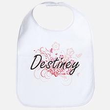 Destiney Artistic Name Design with Flowers Bib