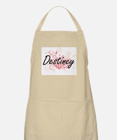 Destiney Artistic Name Design with Flowers Apron