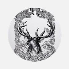 Manly Deer Round Ornament