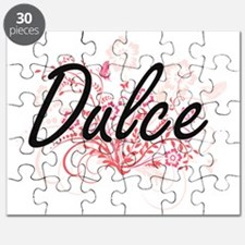 Dulce Artistic Name Design with Flowers Puzzle