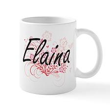 Elaina Artistic Name Design with Flowers Mugs