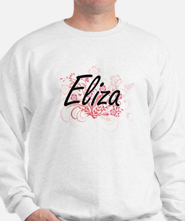 Eliza Artistic Name Design with Flowers Sweater