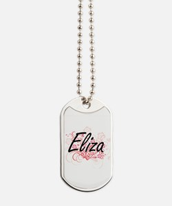 Eliza Artistic Name Design with Flowers Dog Tags