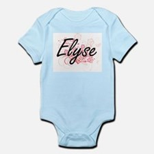 Elyse Artistic Name Design with Flowers Body Suit