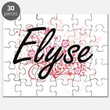 Elyse Artistic Name Design with Flowers Puzzle