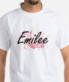 Emilee Artistic Name Design with Flowers T-Shirt