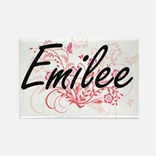 Emilee Artistic Name Design with Flowers Magnets