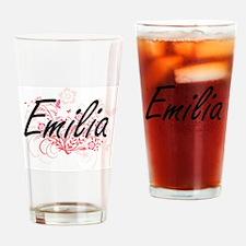 Emilia Artistic Name Design with Fl Drinking Glass