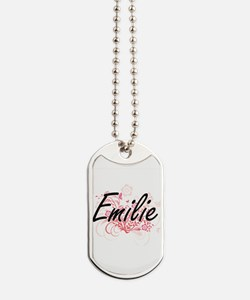 Emilie Artistic Name Design with Flowers Dog Tags