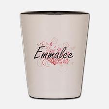 Emmalee Artistic Name Design with Flowe Shot Glass