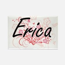 Erica Artistic Name Design with Flowers Magnets