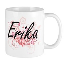 Erika Artistic Name Design with Flowers Mugs