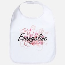 Evangeline Artistic Name Design with Flowers Bib