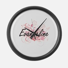 Evangeline Artistic Name Design w Large Wall Clock