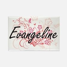 Evangeline Artistic Name Design with Flowe Magnets
