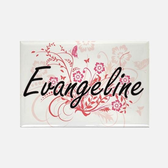 Evangeline Artistic Name Design with Flowe Magnets