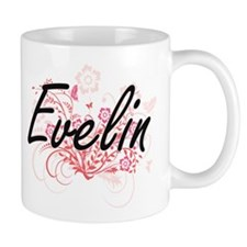 Evelin Artistic Name Design with Flowers Mugs