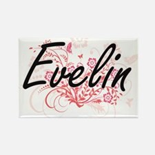 Evelin Artistic Name Design with Flowers Magnets