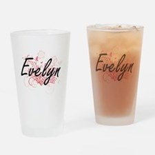 Evelyn Artistic Name Design with Fl Drinking Glass