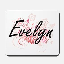 Evelyn Artistic Name Design with Flowers Mousepad