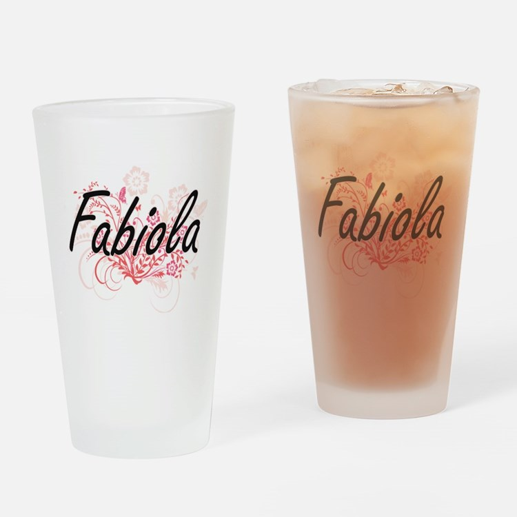 Fabiola Artistic Name Design with F Drinking Glass