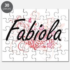 Fabiola Artistic Name Design with Flowers Puzzle