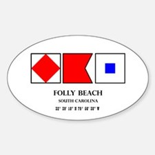 Folly Beach Nautical Flag Decal
