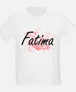 Fatima Artistic Name Design with Flowers T-Shirt
