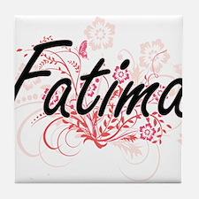 Fatima Artistic Name Design with Flow Tile Coaster