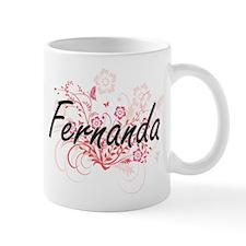 Fernanda Artistic Name Design with Flowers Mugs