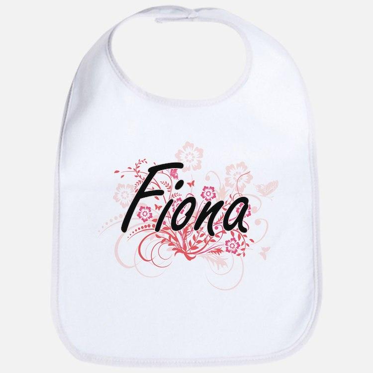 Fiona Artistic Name Design with Flowers Bib