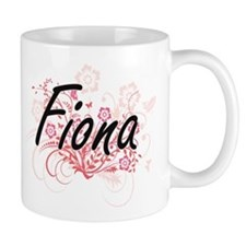 Fiona Artistic Name Design with Flowers Mugs