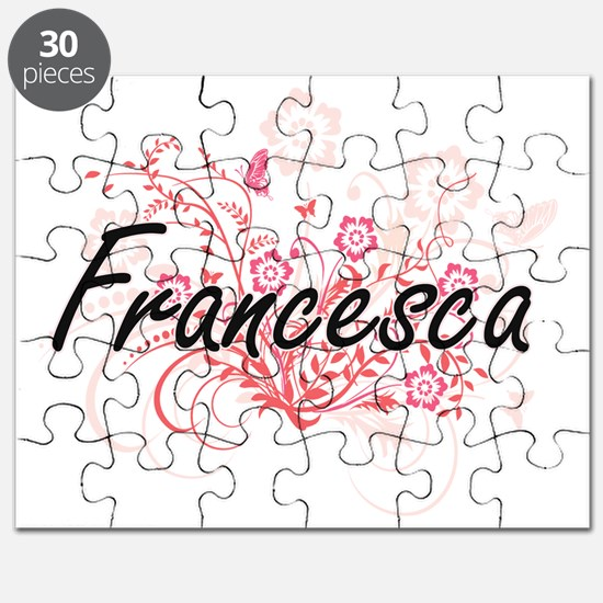 Francesca Artistic Name Design with Flowers Puzzle