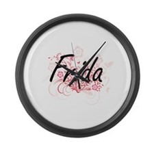 Frida Artistic Name Design with F Large Wall Clock