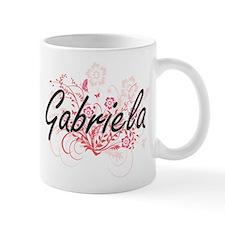 Gabriela Artistic Name Design with Flowers Mugs