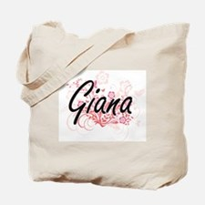 Giana Artistic Name Design with Flowers Tote Bag